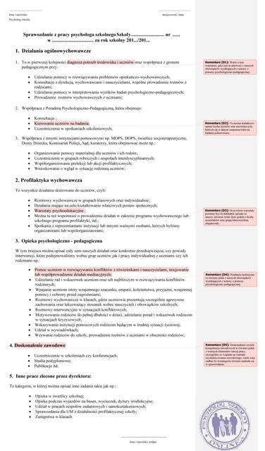 sprawozdanie z pracy psychologa